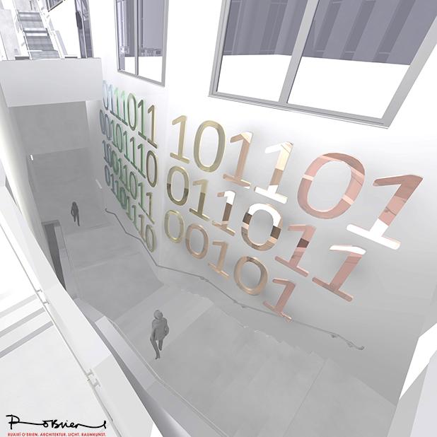 Wettbewerbsbeitrag von Ruarí O'Brien für die Universitätsbibliothek in Marburg. Binärcode-Ziffern aus dichroitischem Glas.