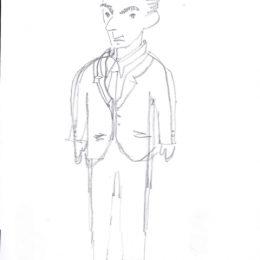 Eine Zeichnung auf weißem Papier, die Erich Kästner zeigt.