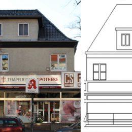 Die Fassadentypologie eines Gebäudes in der Bahnhofstraße auf einer Skizze nachgebildet.