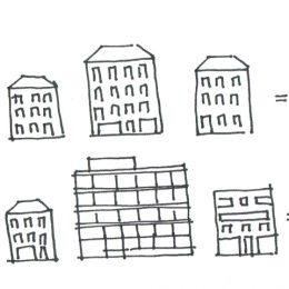 Eine Visualisierung der Bahnhofstraße als Perlenkette mit unterschiedlichen Gebäudetypen.