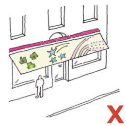 Eine Skizze für eine negative Anwendung von Markisen bei Geschäften.