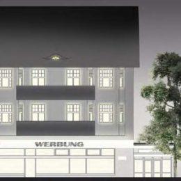 Eine Visualisierung mit Beleuchtung zur Unterstreichung der Persönlichkeit eines Gebäudes in der Bahnhofstraße.