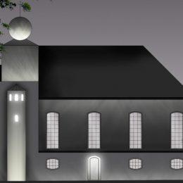 Visualisierung des Erdgeschossbereichs einer Kirche auf der Bahnhofstraße mit entsprechender Beleuchtung.