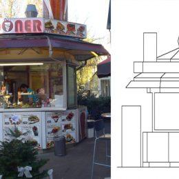 Bild und Skizze einer Fassadentypologie eines Döner-Standes in der Bahnhofstraße Berlin-Lichtenrade.