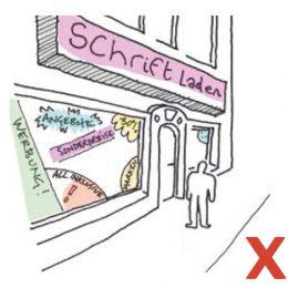 Skizze über die negative Anwendung von Außenwerbung an Geschäften.