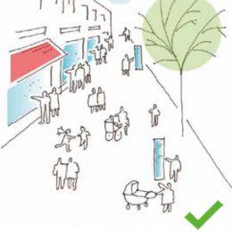 Eine Skizze, die eine positive Anordnung von Werbeelementen, Tischen, etc. im Fußgängerbereich der Bahnhofstraße zeigt.